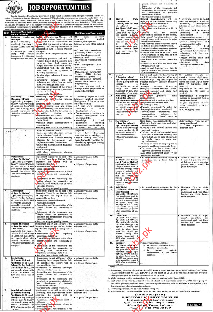 Jobs in Special Education Department