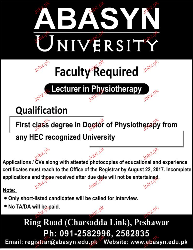 Lecturers Physiotherapy Job Opportunity