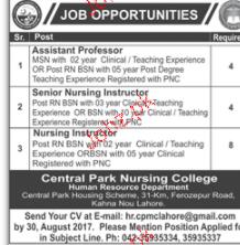 Assistant Professors, Senior Nursing Instructors Wanted
