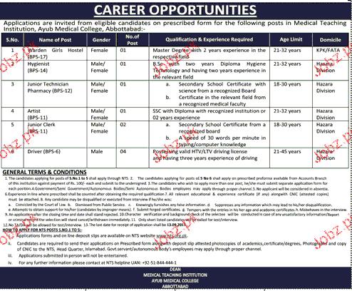 Medical Teaching Institution MTI Abbottabad Job Open