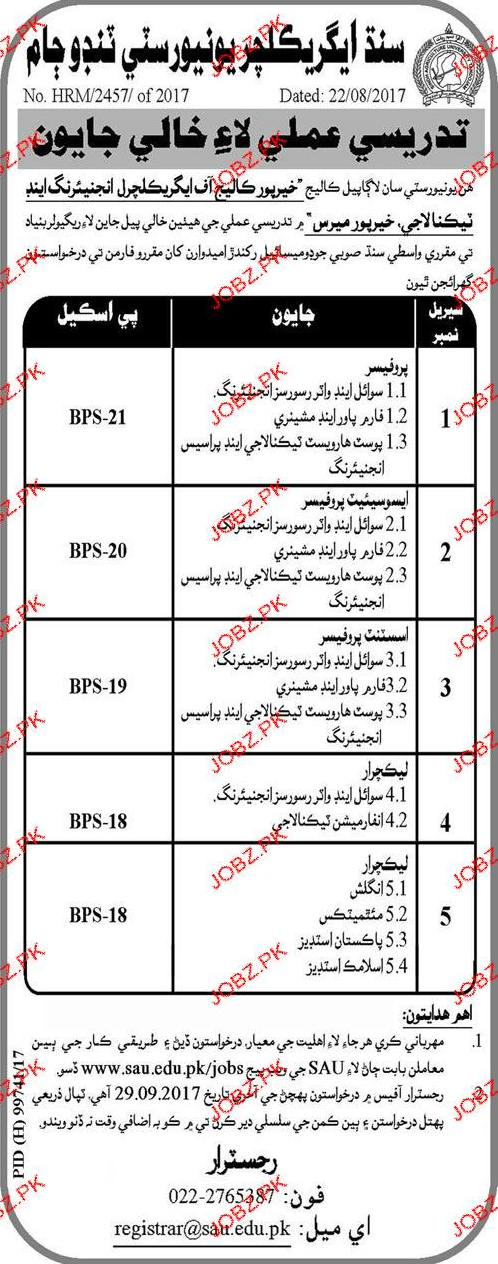 Sindh Agriculture University Tandojam Jobs
