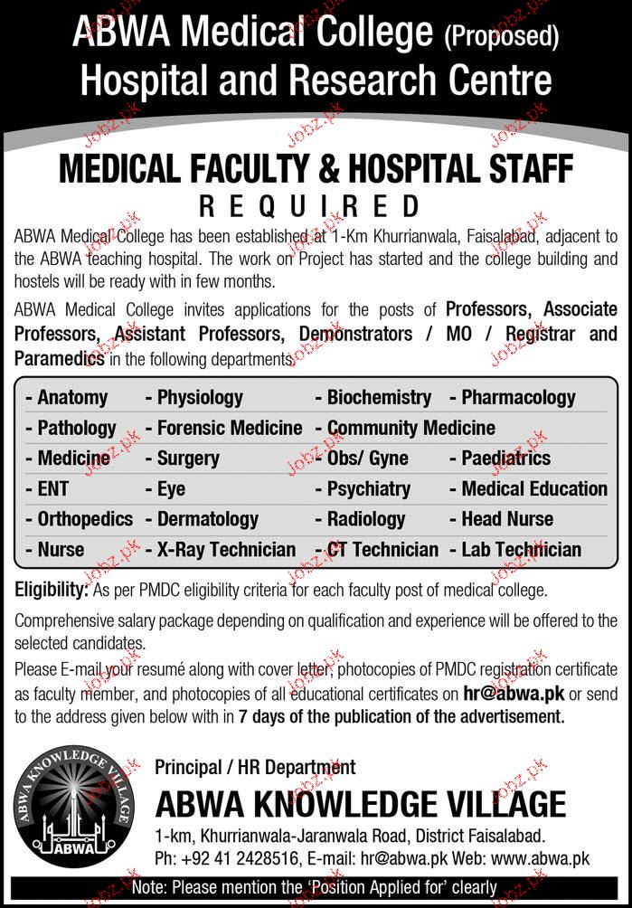 ABWA Medical College Hospital & Research Center Jobs