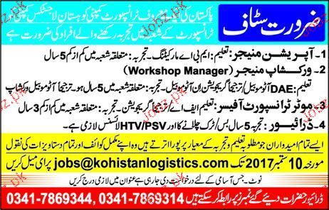 Operation Managers, Workshop Manager Job Opportunity