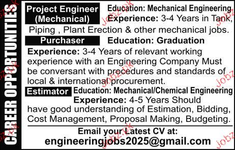 Project Engineer Mechanical Job Opportunity