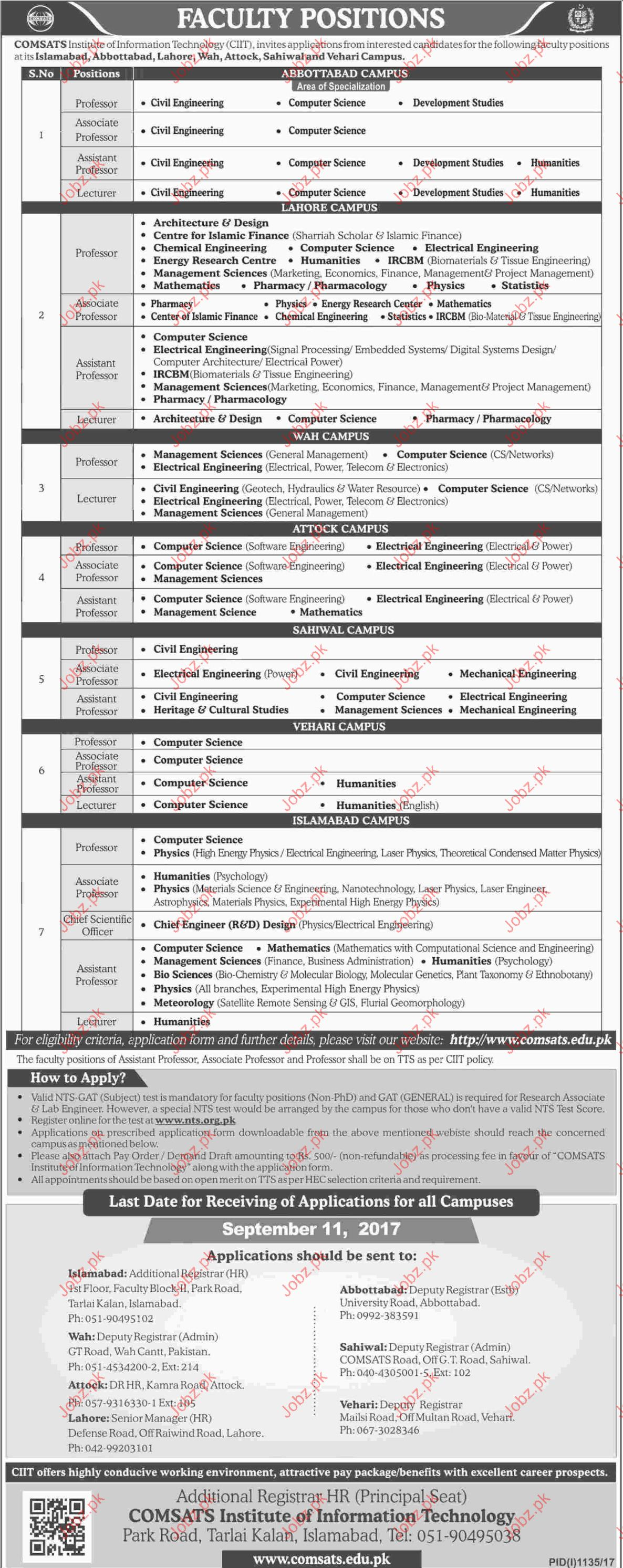 COMSATS Institute of Information Technology Jobs Opportunity