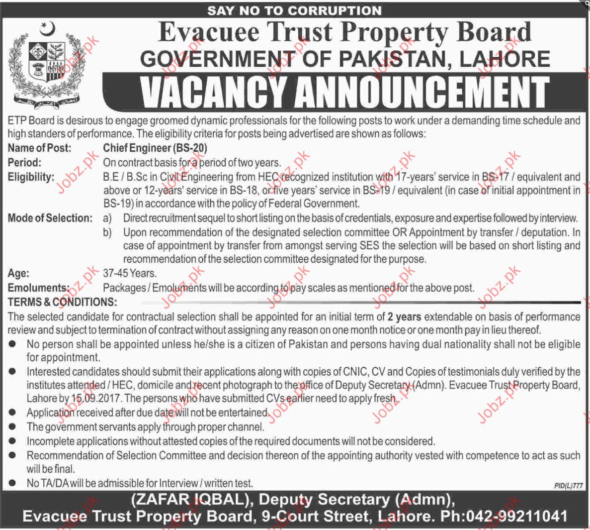 Evacuee Trust Property Board Required Chief Engineer