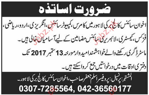 Akhwan Science College Required Teachers