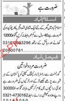 Female Staff and Chawkidars Job Opportuity