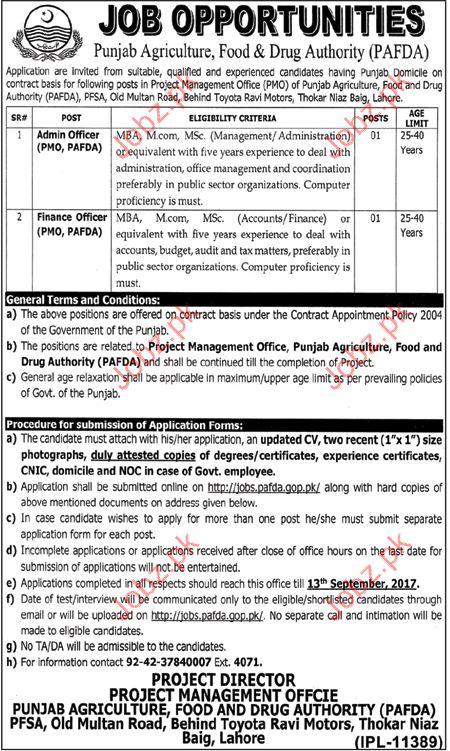 Punjab Agriculture Food & Drugs Authority PAFDA jobs