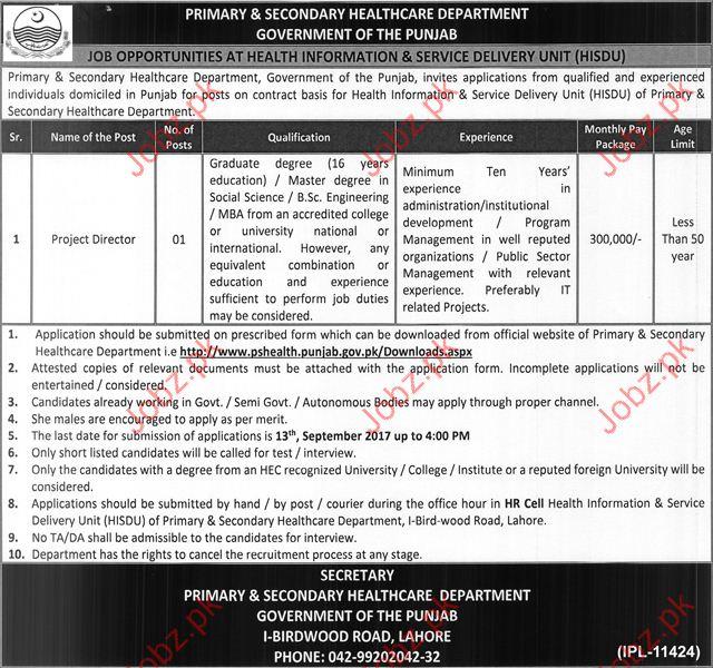 Director Jobs In Primary & Secondary Healthcare Department