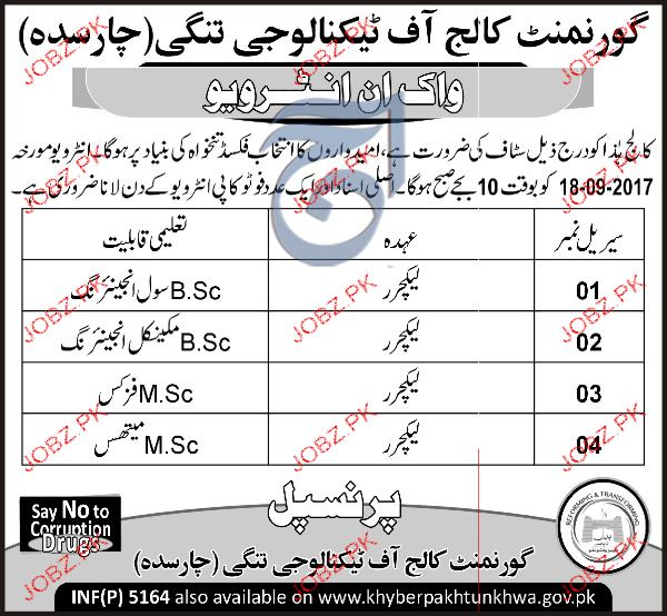 Government College of Technology Tangi Jobs