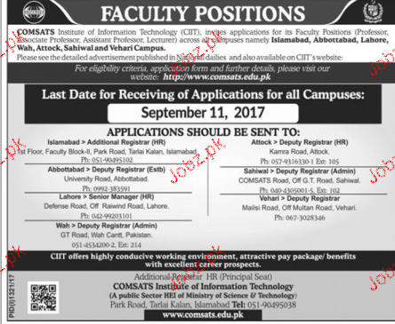 Comsats Institute of Information Technology  JOBS