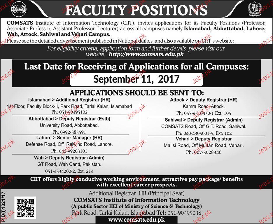 Professors, Associate Professors Job in COMSATS