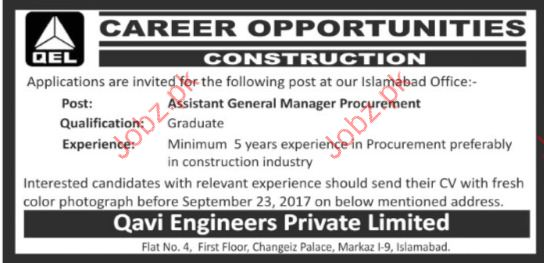General Manager Required For Construction Company