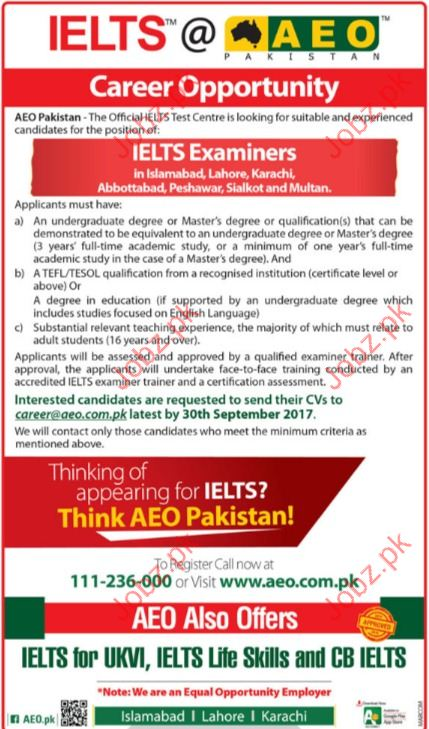 IELTS Required IELTS Examiners