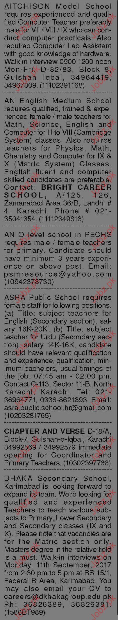 Teachers Wanted By Aitchison Model School, Bright Career