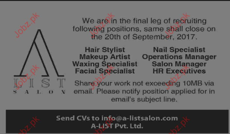 Jobs Opportunity In A List Salon Karachi