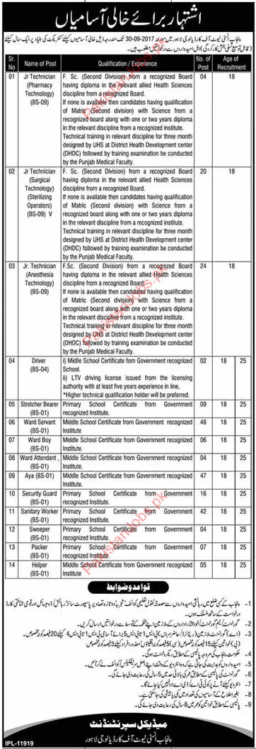Punjab Institute Cardiology Required Jr Technician