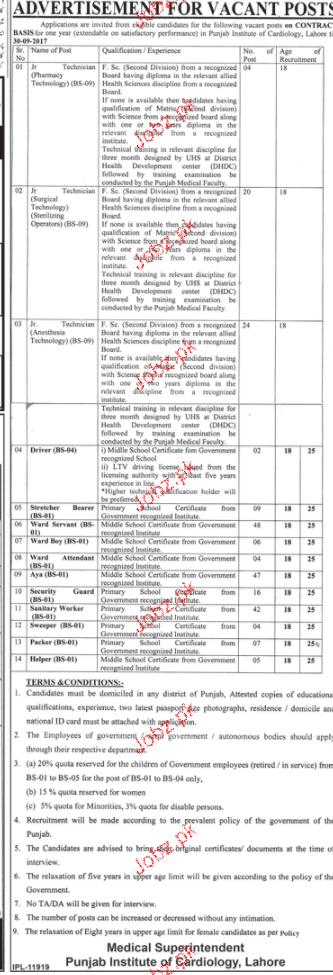 Punjab Institute of Cardiology Job