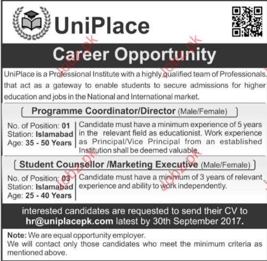 Uniplace Institute Required Programme Director
