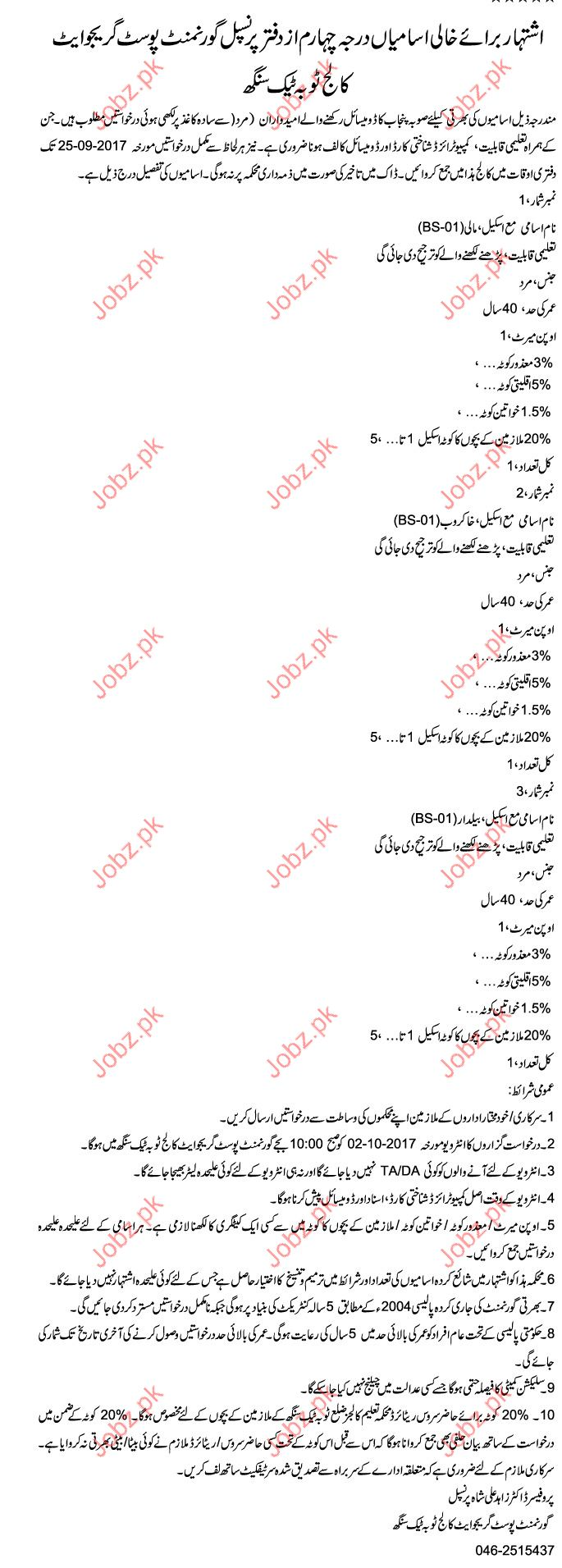 Government Post Graduate College Required Clerical Staff