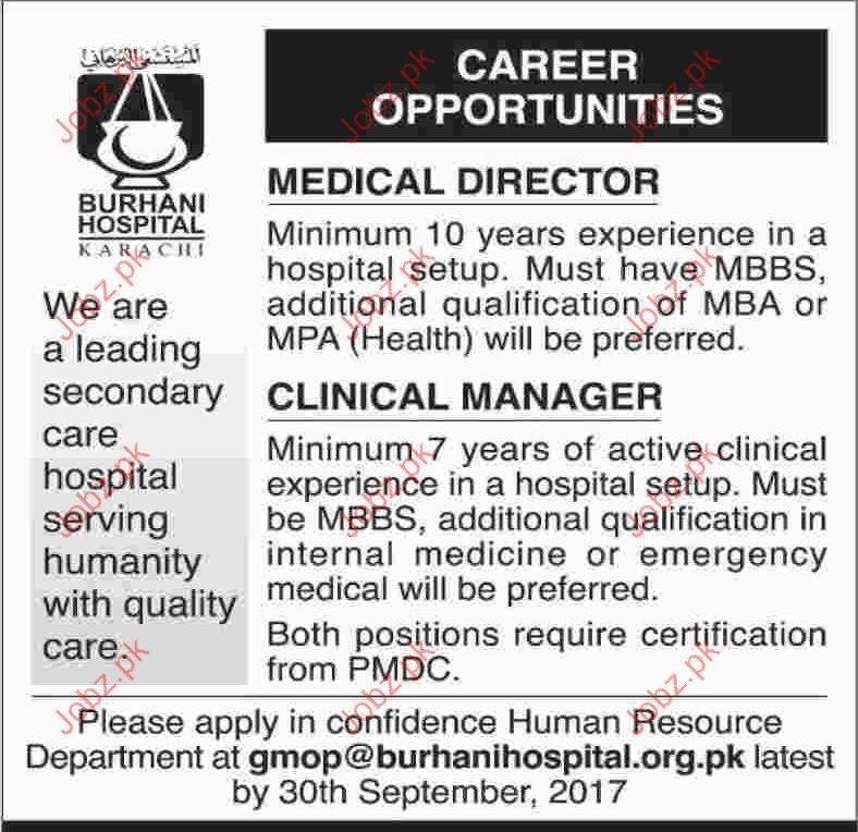 Medical Staff Required for Burhani Hospital