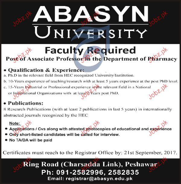 Abasyn University Jobs