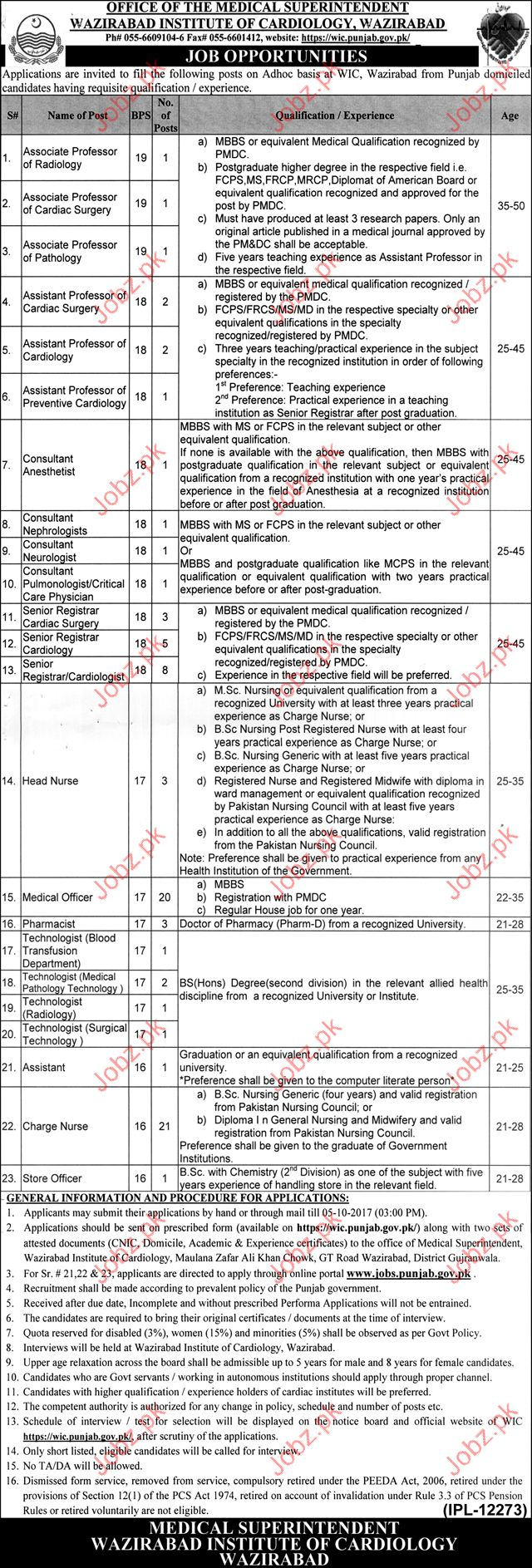 Wazirabad Institute Of Cardiology Required Medical Professor
