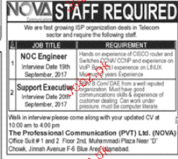 NOC Engineers and Support Executives Job Opportunity