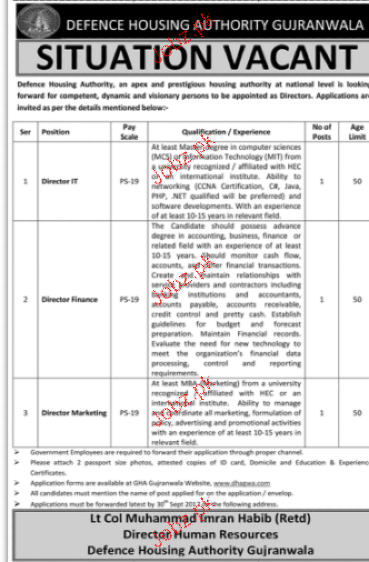 Defence Housing Authority DHA Jobs Open