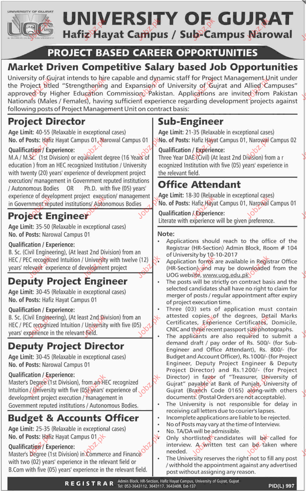 University Of Gujrat Required Project Director