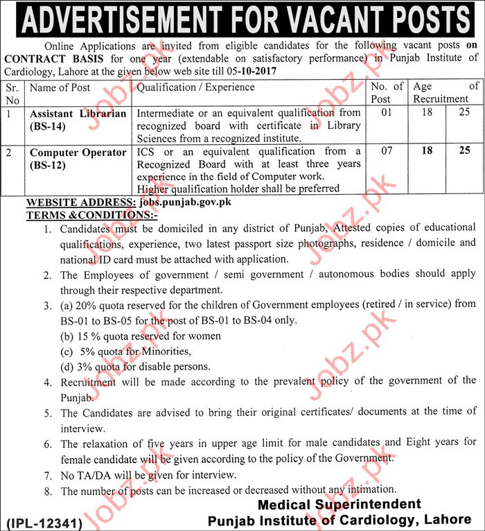 Punjab Institute of Cardiology Job Opportunity