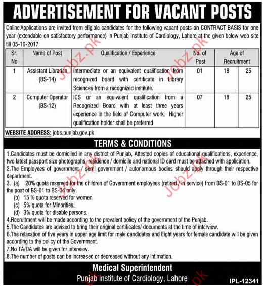 Punjab Institute Of Cardiology Required Assistant Librarian
