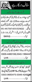 Miscellaneous Staff Required For Islamabad, Pakistan