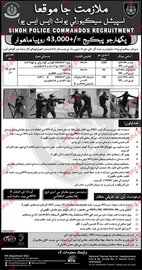 Special Security Unit SSU Sindh Police Jobs
