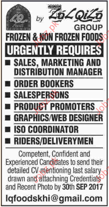 IQ Foods Group Required Sales Staff