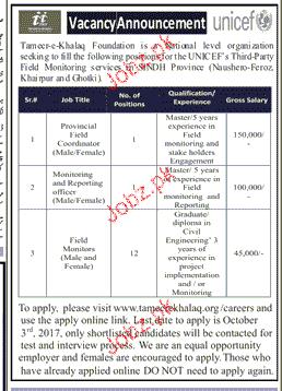 Provisional Field Coordinators Job Opportunity