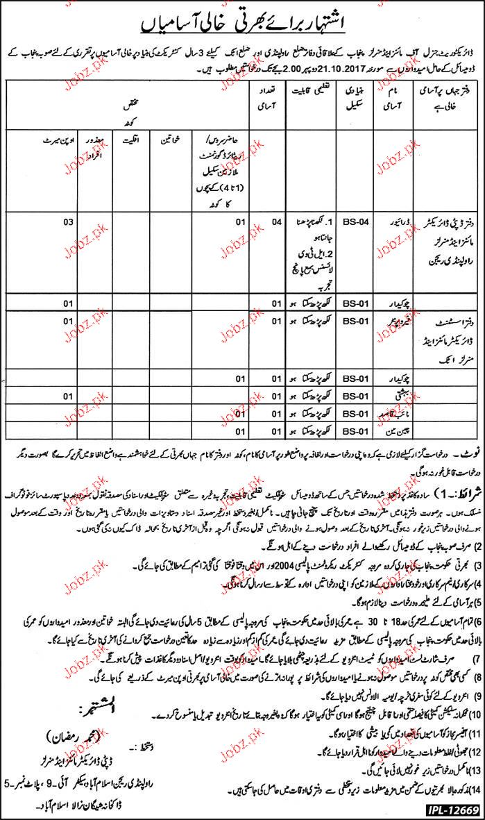 Directorate General of Mines and Minerals Punjab Jobs