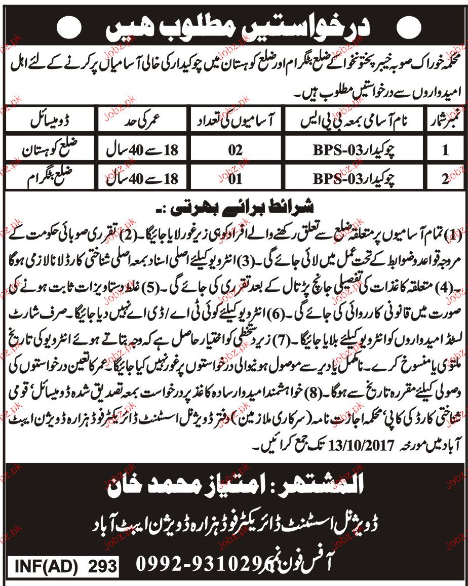 Food Department Government of Khyber Pakhtunkhawa Jobs