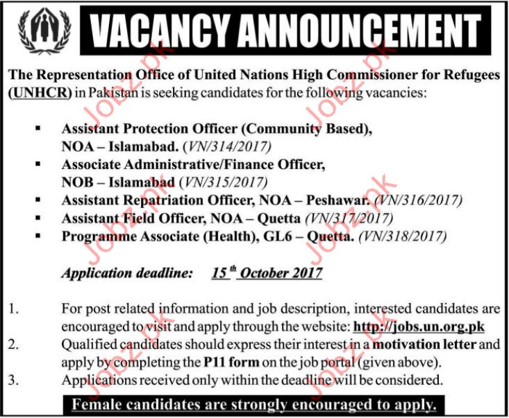 United Nations High Commissioner for Refugee UNHCR Jobs