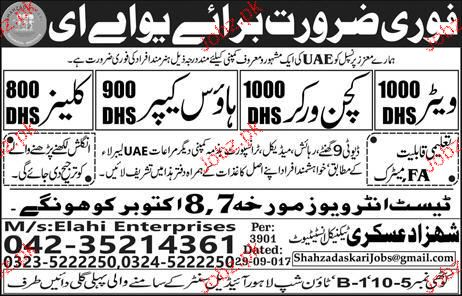 Waiters, Kitchen Workers, House keepers Wanted