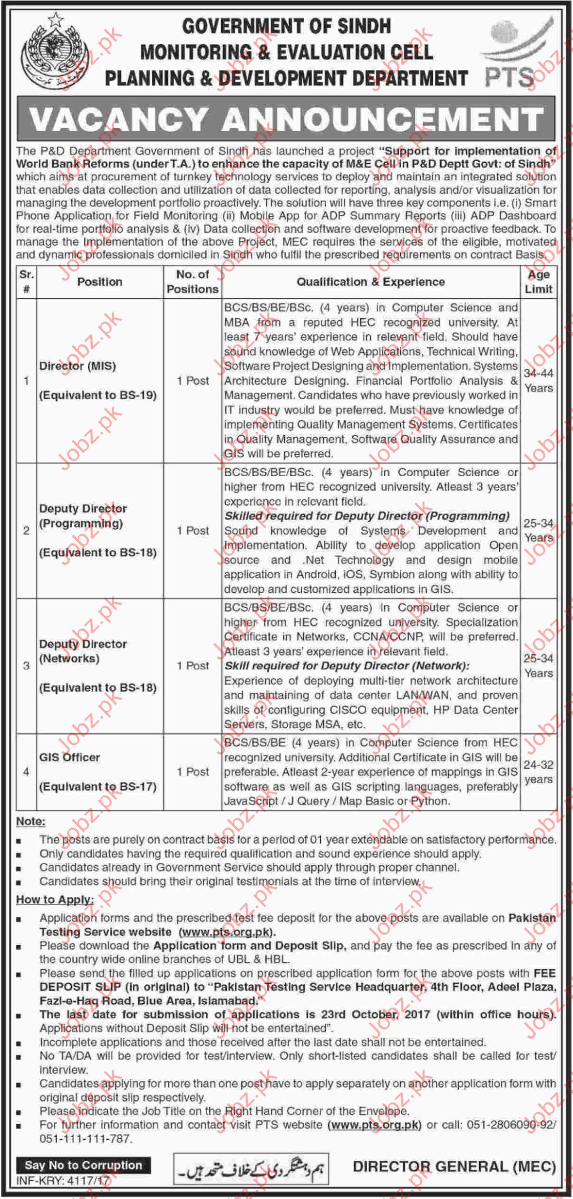 PTS Monitoring & Evaluation Cell Planning Department Jobs