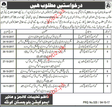 College and Higher Education Balochistan Jobs