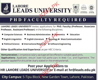 Lahore Leads University Jobs