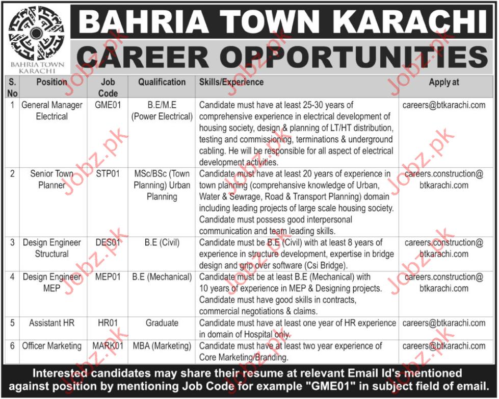 Bahria Town Karachi Career Opportunities 2017