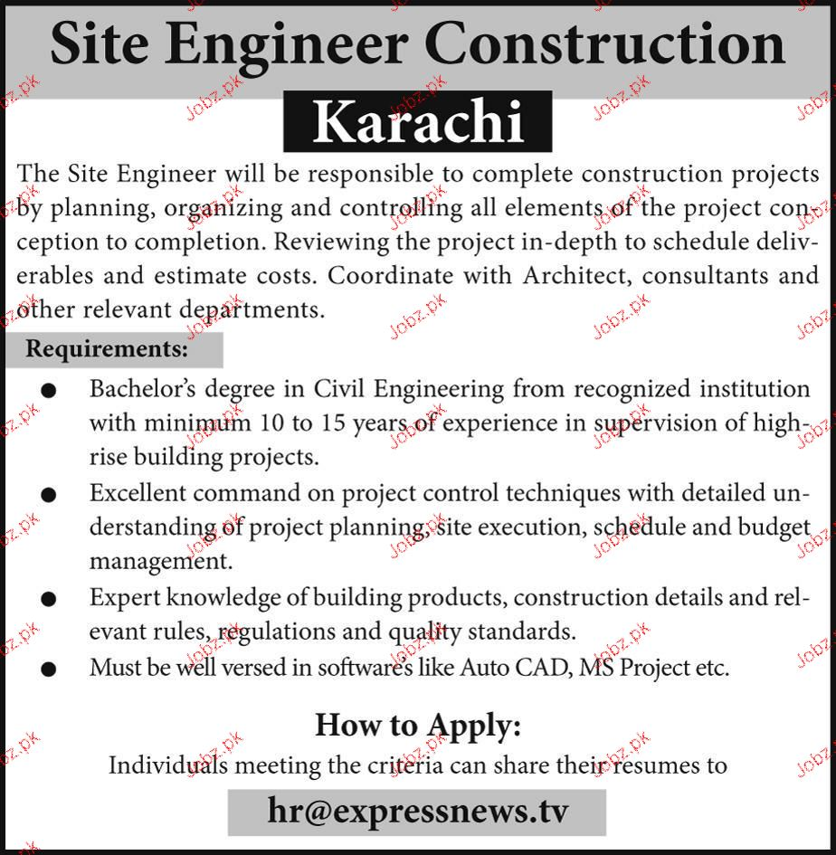 Site Engineer Construction Job Opportunity