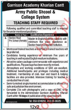 Garrison Academy Teaching Staff Jobs Kharian Cantt