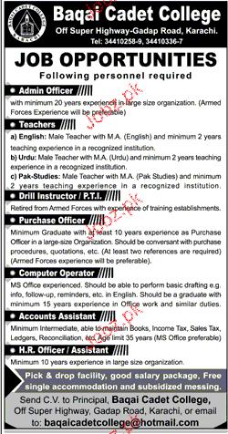 Baqai Cadet College Jobs