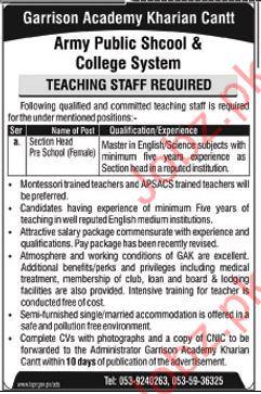 Garrison Academy Teachers Jobs Kharian Cantt
