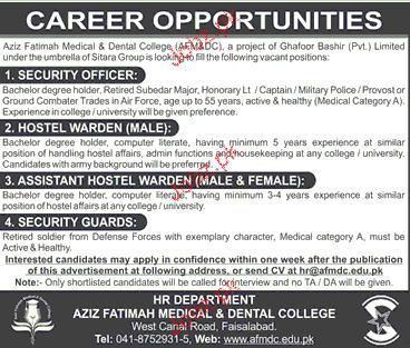 Aziz Fatimah Medical & Dental College Jobs
